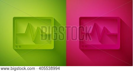 Paper Cut Computer Monitor With Cardiogram Icon Isolated On Green And Pink Background. Monitoring Ic