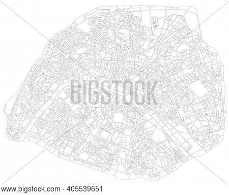 Paris France Monochrome Line City Map. Plan Of Streets, Urban Background. Scheme Of Road. Vector