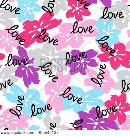 Floral Seamless Pattern. Cute Floral Background. Pattern Valentines Day Love Background With Flower