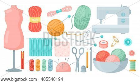 Needlework Sewing Tailoring Tools. Cartoon Tailor Accessories To Knit And Sew Collection With Knitti