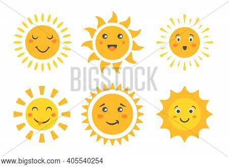 Cartoon Sun Emoticon Characters Collection, Sunny Faces With Happy Emotions And Fun Positive Smile,