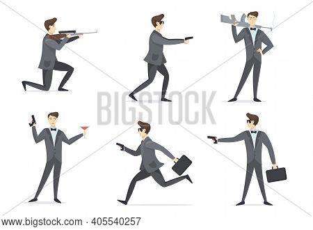 Emissary Man Adventures Set. Secret Spy Agent Aiming Weapon, Using Gun, Drinking Cocktail. Vector Il