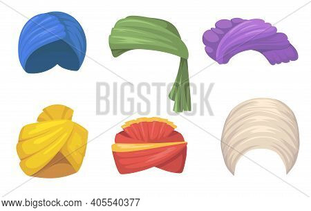 Traditional Turbans Set. Indian And Arabic Hats, Colorful Sikh Headgear Fires Isolated On White. Vec