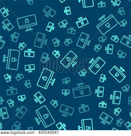 Green Line Lock On Computer Monitor Screen Icon Isolated Seamless Pattern On Blue Background. Securi