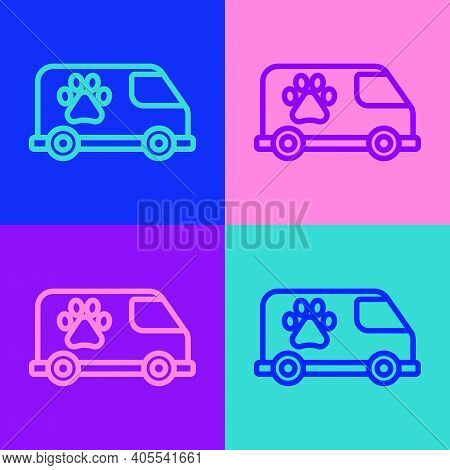 Pop Art Line Veterinary Ambulance Icon Isolated On Color Background. Veterinary Clinic Symbol. Vecto