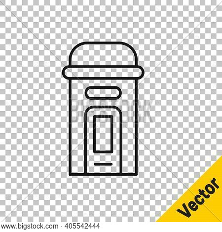 Black Line London Phone Booth Icon Isolated On Transparent Background. Classic English Booth Phone I