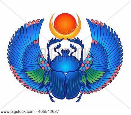 Scarabaeus Sacer, Dung Beetle. Sacred Symbol Of In Ancient Egypt. Fantasy Ornate Insects. Isolated V