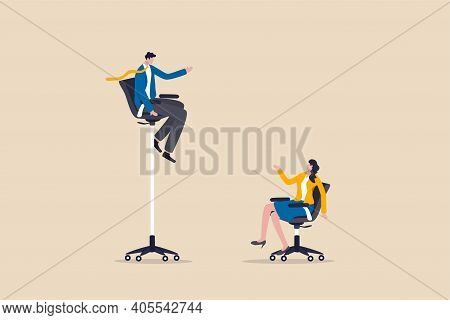 Gender Gap And Inequality In Work, Pay Gap Or Advantage For Man Over Woman In Career Path Concept, B