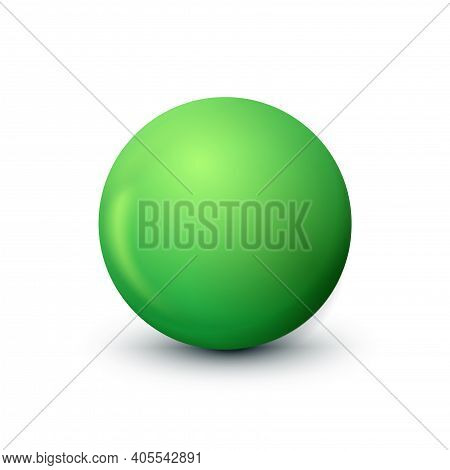 Green Sphere, Ball Fashionable Classic Verdant Color. Matt Mock Up Of Clean Realistic Orb, Icon. Sim