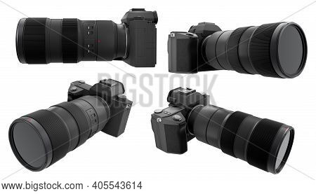 Concept Of Nonexistent Dslr Camera With Lens Isolated On A White Background.