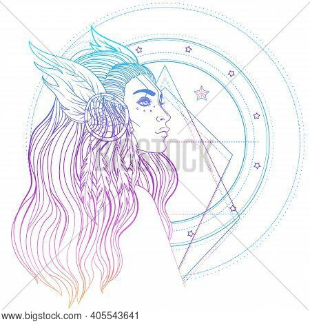 Isolated On White Illustration Of Native American Indian Girl With Feathers And Dream Catcher.