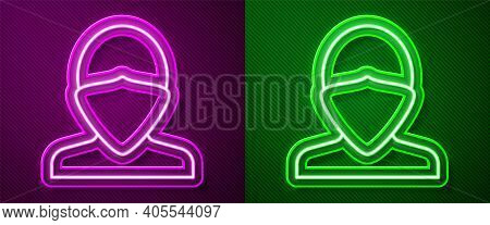 Glowing Neon Line Vandal Icon Isolated On Purple And Green Background. Vector