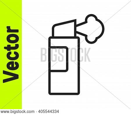 Black Line Pepper Spray Icon Isolated On White Background. Oc Gas. Capsicum Self Defense Aerosol. Ve
