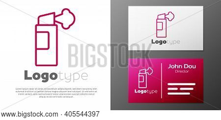 Logotype Line Pepper Spray Icon Isolated On White Background. Oc Gas. Capsicum Self Defense Aerosol.