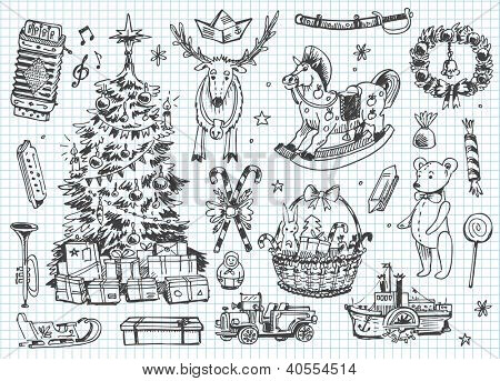Vintage vector doodles. Christmas, winter