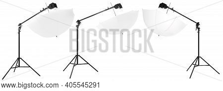 Photography Studio Speedlight On Boom With Stand And Umbrella Isolated On White
