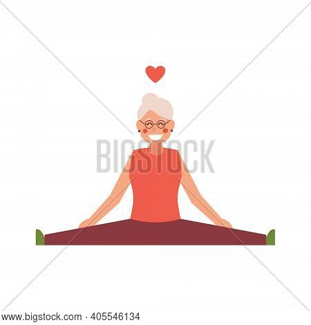 Twine Stretching Mature Senior Woman Isolated On White Isolated Background. Vector Illustration