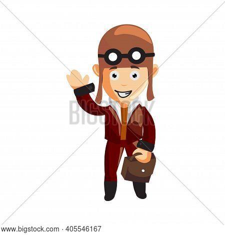 Pilot Bring Bag Character Illustration Use Helmet Headphones And Glasses