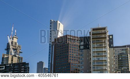 Melbourne, Australia - May 17, 2019: Upward View From Street Level Of The City Skyline Buildings In