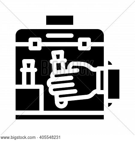 Vacuum Chamber For Work With Vaccine Glyph Icon Vector Illustration