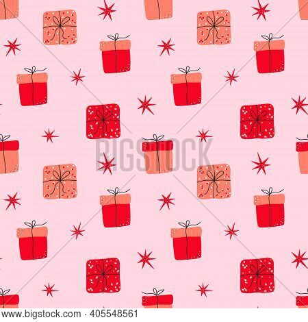 Hand Drawn Valentines Day Romantic Seamless Pattern With Cute Gift Box, Presents And Stars. Vector I