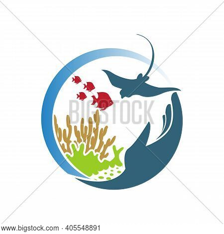 Illustration Design Reef Underwater Wildlife. Silhouette Of Coral Reef With Fish And With Hand For E