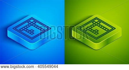Isometric Line Bingo Icon Isolated On Blue And Green Background. Lottery Tickets For American Bingo