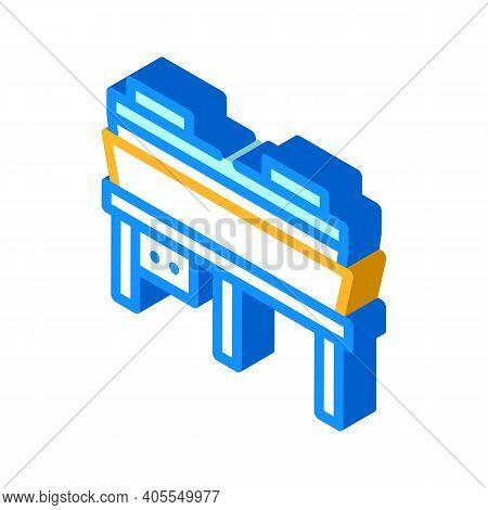 Hot Pressing Press Isometric Icon Vector Illustration