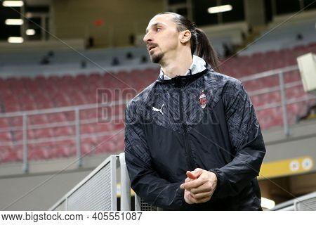 Milano, Italy. 26th January 2021 . Zlatan Ibrahimovic Of Ac Milan  During The Coppa Italia Match Bet
