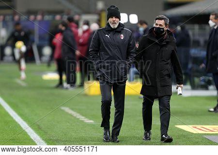 Milano, Italy. 26th January 2021 . Stefano Pioli, Head Coach  Of Ac Milan  During The Coppa Italia M