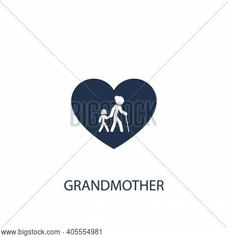 Grandmother With Child Icon. Simple Family Element Illustration. Vector Symbol Design From Home Coll