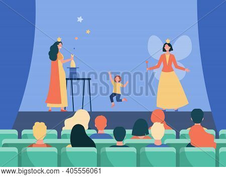Happy Animators Performing On Stage For Kids. Magic, Fairy, Costume Flat Vector Illustration. Entert