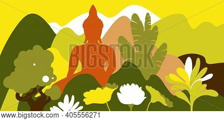 Asian Mountain Hilly Landscape With Tropical Plants And Buddha Statue. Environmental Protection, Eco