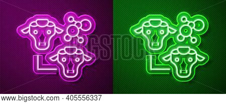 Glowing Neon Line Cloning Icon Isolated On Purple And Green Background. Genetic Engineering Concept.