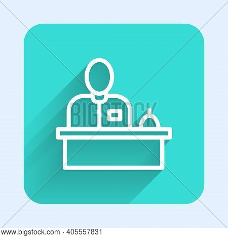 White Line Receptionist Standing At Hotel Reception Desk Icon Isolated With Long Shadow. Green Squar