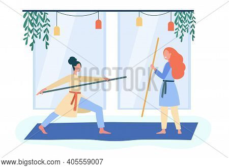 Smiling Women Training Asian Martial Arts. Body, Stick, Wellbeing Flat Vector Illustration. Healthca