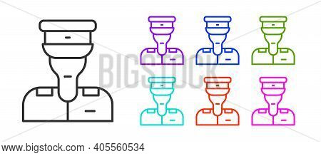 Black Line Train Conductor Icon Isolated On White Background. Set Icons Colorful. Vector