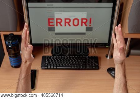 Closeup Of Mans Hands Frustrated By Online Banking Transaction Error, Electronic Payment System Fina