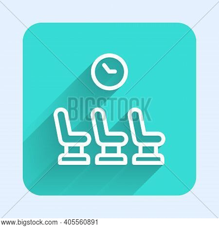 White Line Waiting Room Icon Isolated With Long Shadow. Green Square Button. Vector