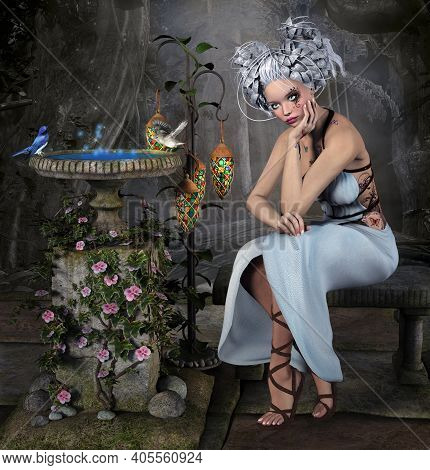 Thoughtful Fairy Sitting By A Fountain In The Enchanted Garden - 3d Illustration