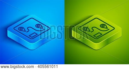 Isometric Line Route Location Icon Isolated On Blue And Green Background. Train Line Path Of Train R
