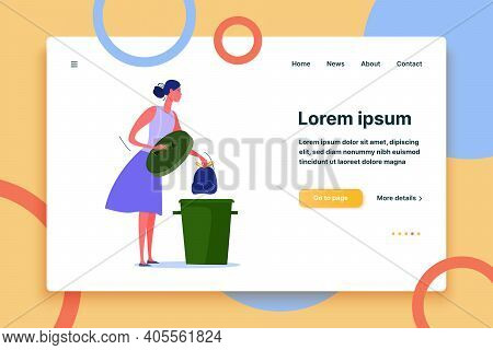 Cleaning Woman Taking Garbage To Trash Bin. Cleaning Flat Vector Illustration. Dumpster Concept For