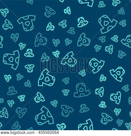 Green Line Baby Clothes Icon Isolated Seamless Pattern On Blue Background. Baby Clothing For Baby Gi
