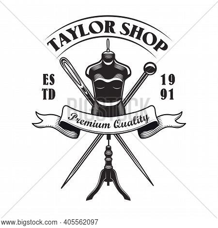 Retro Monochrome Sewing Tools Emblem Template For Tailor Store. Vector Illustrations Of Tailoring Ne