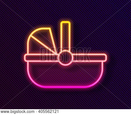Glowing Neon Line Baby Stroller Icon Isolated On Black Background. Baby Carriage, Buggy, Pram, Strol