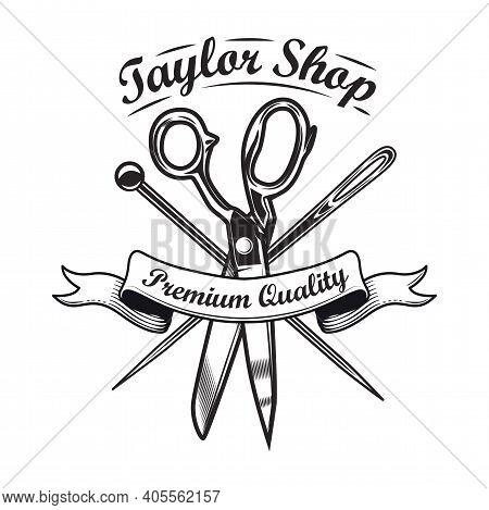 Black Sewing Tools Emblem Template For Handmade Store. Vector Illustrations Of Tailoring Needles, Pi