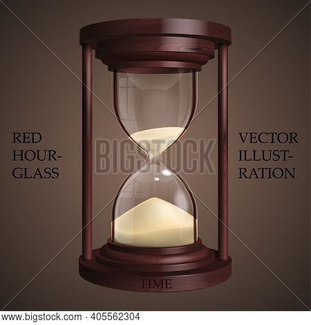 Red Hourglass On Brown Background. Future Concept. Realistic 3d Hourglass For Your Business Project.