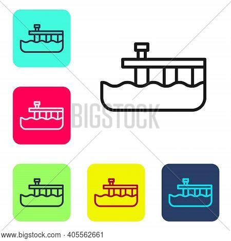 Black Line Beach Pier Dock Icon Isolated On White Background. Set Icons In Color Square Buttons. Vec
