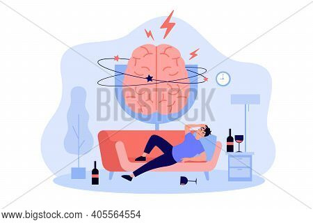 Person Sleeping On Couch Among Glasses And Bottles Of Liquor, Feeling Headache And Hangover. Painful