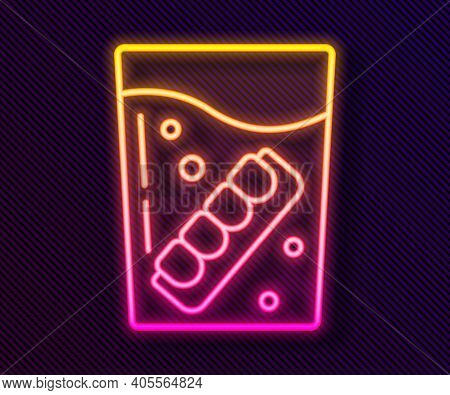 Glowing Neon Line False Jaw In Glass Icon Isolated On Black Background. Dental Jaw Or Dentures, Fals